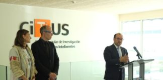 Carmen Pomar, Senén Barro e Antonio López, na presentación da nova identidade do CiTIUS. Foto: USC.