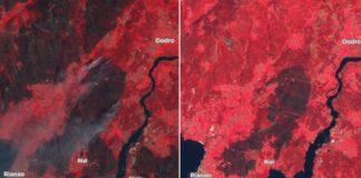 Comparación da zona queimada nos incendios de 2006 (esquerda) e 2019 (dereita). Fonte: Sentinel Hub (imaxe en falso color).