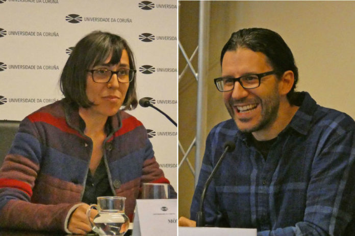 Mónica Ferrín Pereira e José A. Iglesias Guitián, no acto no que se anunciou a súa incorporación ao programa Intalent UDC-Inditex. Foto: Universidade da Coruña.