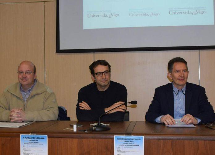 Xosé Mª Gómez Clemente, Fernando Ramallo e Alexandre Rodríguez Guerra, nas xornadas sobre neoloxismos na UVigo. Fonte: Duvi.