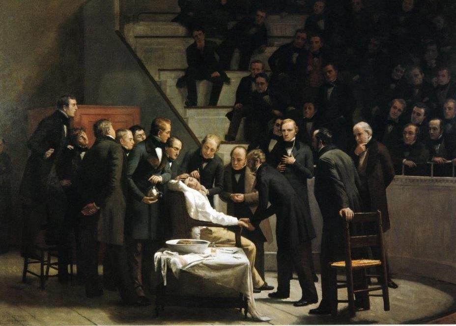 Cadro de Robert C. Hinckley que recolle a primeira operación con éter como anestésico da historia.