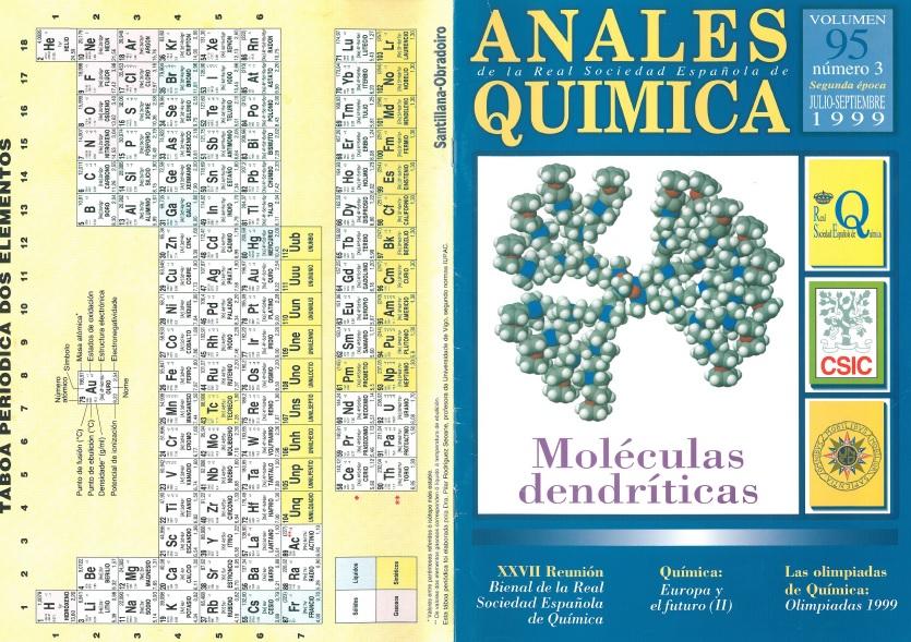 Táboa periódica en galego publicada na revista Anales de la Real Sociedad Española de Química en 1999.