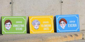 Placas usadas para nomear os tres edificios do campus. Foto: Duvi.