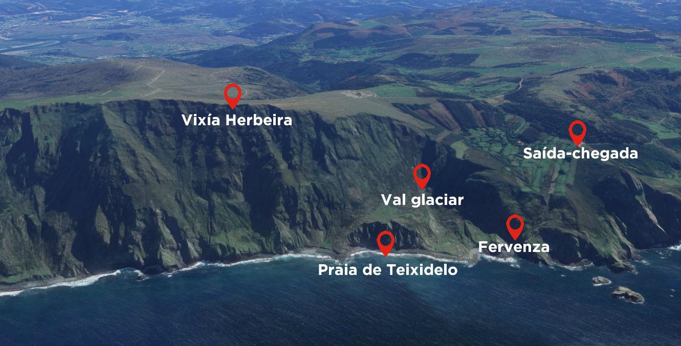 Vista panorámica dalgúns dos puntos de interese da xeoruta das praias negras. Fonte: Google Maps/Elaboración propia.