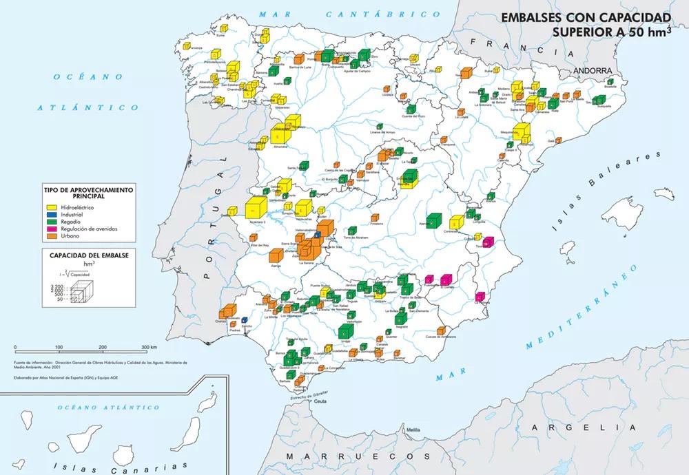 Encoros españois con capacidade superior a 50 hm³ Fonte: IGN.