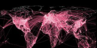 Contención epidémica na rede de transporte aéreo. A imaxe mostra as redes despois de que o 33,3% das ligazóns se eliminaran considerando a importancia dos enlaces na epidemia. Fonte: A. Arenas et al./Science Advances.