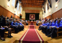 Salón Nobre do Colexio de Fonseca durante o acto. Foto: Santi Alvite/USC.