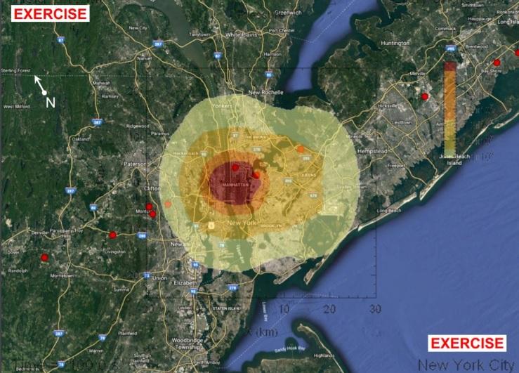 Área do impacto do asteroide en Manhattan. Fonte: ESA en Twitter.