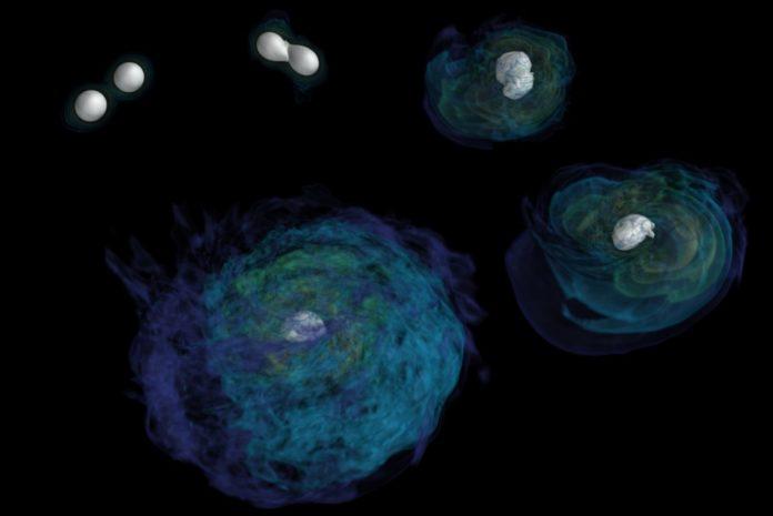 Na imaxe, unha simulación dunha fusión de estrelas de neutróns. Fonte: LIGO.