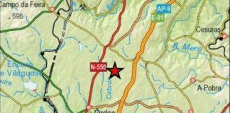 Localización do sismo deste mércores en Ordes. Fonte: IGN.