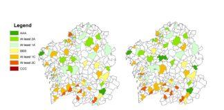 Clasificación dos concellos sustentables de Galicia en función dos dous criterios usados polos investigadores da USC. Fonte: Journal of Cleaner Production.
