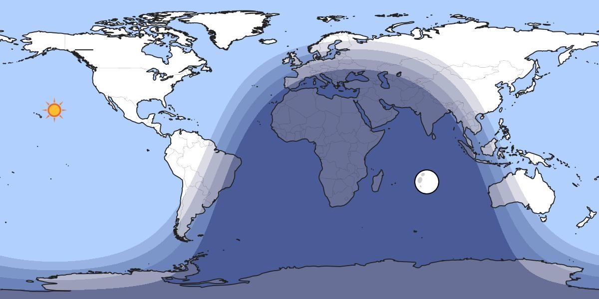 Esquema do solpor na noite do venres 20 de xuño. As cores, de máis claro a máis escuro, representan o día aberto, o solpor náutico, o solpor astronómico e a noite pechada. Fonte: timeanddate.com.