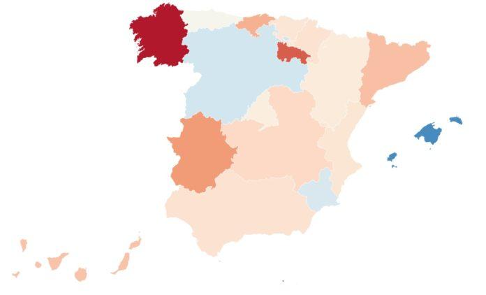 Mapa da diferenza (en porcentaxe) dos nacementos entre 2017 e 2018. Fonte: INE/Elaboración propia.