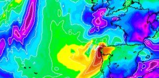 Predición dos refachos máximos de Miguel, que poderán superar os 100 km/h, para o mediodía do xoves. Fonte: MeteoGalicia.