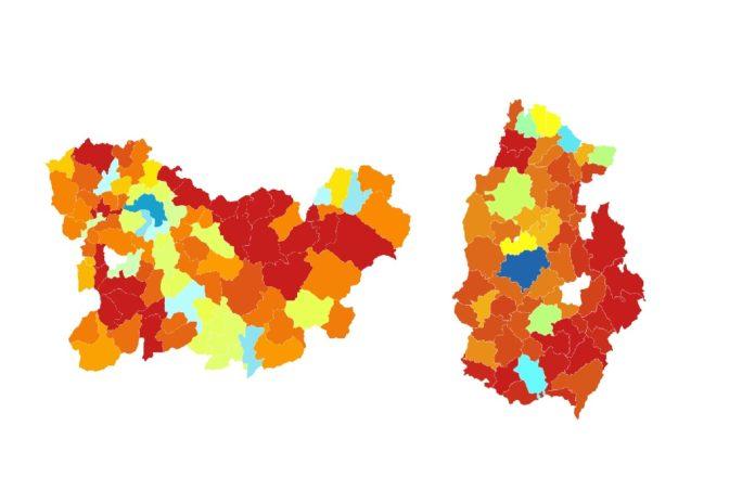 Mapas coa diferenza de poboación de Lugo e Ourense entre 1900 e 2018. Fonte. INE / Elaboración propia.