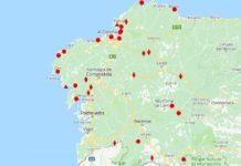Praias galegas e zonas de baño con augas de calidade insuficiente. Fonte: Consellería de Sanidade.