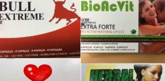 Varios dos produtos comercializados como suplementos alimenticios que foron prohibidos nos últimos anos pola AEMPS ao conter cantidades significativas de sildenafilo. Fonte: aemps.gob.