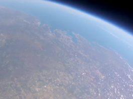 Vista da costa galega desde a estratosfera tomada pola sonda escolar Marumasat IV. Fonte: NOSA.
