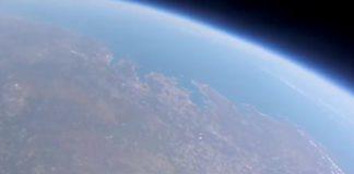 Vista da costa galega tomada pola Marumasat IV pouco antes de estourar o globo de helio. Fonte: NOSA.
