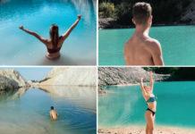 Imaxes de varias persoas bañándose ou posando nas balsas de Monte Neme. Fonte: Instagram.