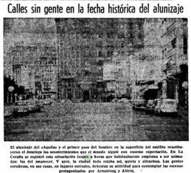Rúas baleiras na Coruña na tarde do 19 de xullo de 1969. Fonte: La Voz de Galicia.