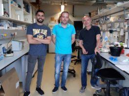 De dereita a esquerda, Román Pérez, Samuel Seoane e Anxo Martínez, tres dos autores do traballo sobre o cancro de mama. Foto: USC.