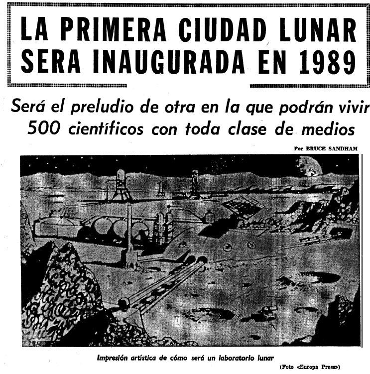 Recreación dunha cidade lunar. Fonte: La Voz de Galicia (19 de xullo de 1969).