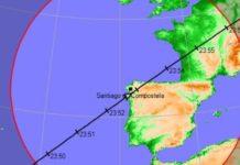 O paso da ISS producirase entre as 23.49 e as 23.56. Fonte: Heavens Above.