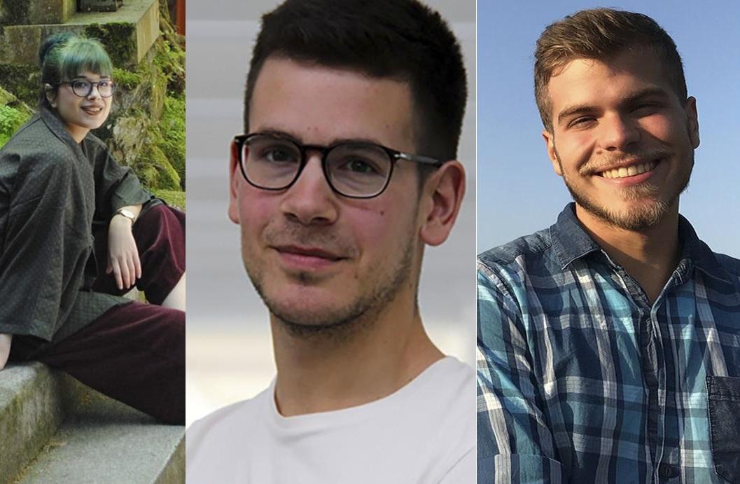 Andrea Busto, Guillermo Barreiro e César Gabriel Márquez son os tres estudantes da UVigo que se formarán durante 15 días en China. Foto: Duvi.
