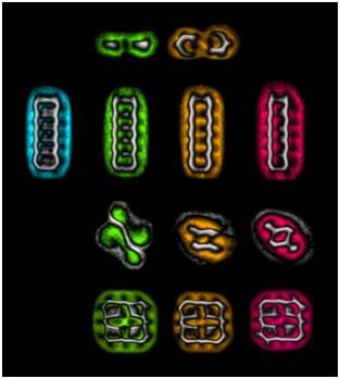 Figura: imaxes coloreadas de microscopía de forza atómica das catro moléculas estudadas (primeira fila: azobenceno; segunda fila: pentaceno; terceira fila: TCNQ; cuarta fila: porfina) nos diferentes estados de carga xerados (primeira columna en azul: positiva; segunda columna en verde: neutra; terceira columna en laranxa: negativa; cuarta columna en vermello: dobremente negativa). Fonte: IBM Research.