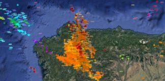 MeteoGalicia rexistrou no seu radar máis de 5.000 raios, 3.000 deles sobre Galicia.