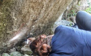 Imaxe da primeira revisión das pinturas rupestres no xacemento. Foto: Duvi.
