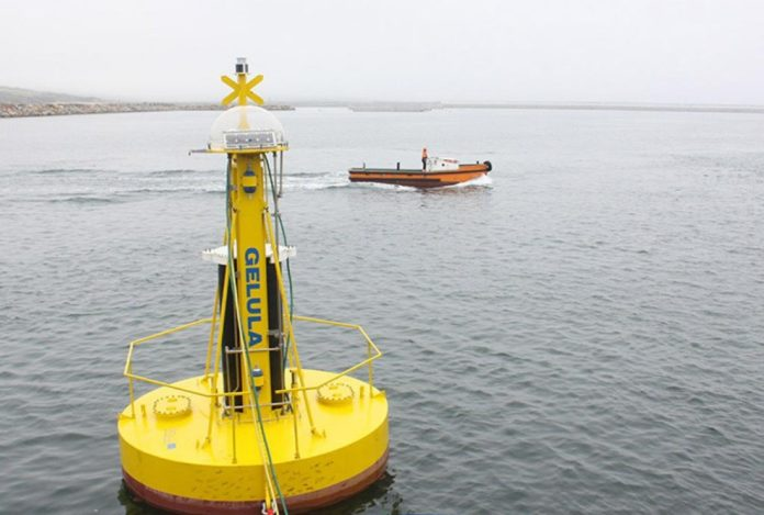 Imaxe do prototipo deseñado para estudar o potencial undimotriz en Punta Langosteira Foto:LifeDemoWave.