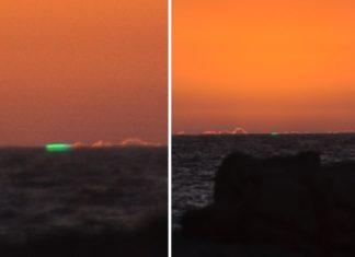 Raio verde captado o pasado venres nas Illas Cíes. Imaxes: Sandra Sánchez.
