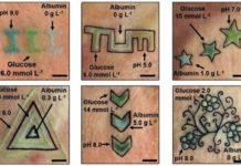 Tatuaxes realizadas para estudar a variación de determinados indicadores. Fonte: Yetisen et al., Angewandte Chemie International Edition, 2019.