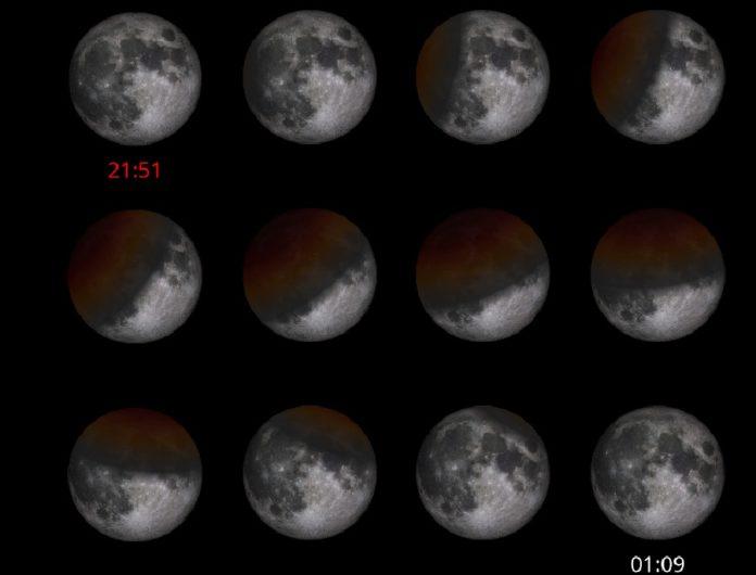 Fases da eclipse de Lúa do vindeiro día 16, a última do ano, segundo se poderá ver desde Galicia. Fonte: IGN.
