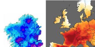 """As temperaturas de xuño foron """"extremadamente frías"""" en Galicia mentres que no resto de Europa os valores foron anormalmente altos. Fonte. MeteoGalicia/Copernicus."""