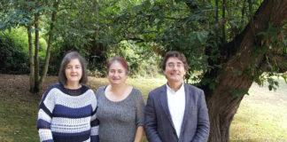 Ana María Ramos, Belén Díaz, e Santiago Pereira, autores da investigación sobre os castiñeiros premiada pola Academia de Ciencias. Foto cedida pola RAGC.
