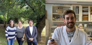 Ana María Ramos, Belén Díaz, e Santiago Pereira; e Juan Cuñarro son os galardoados polas súas investigacións. Fotos: RAGC.