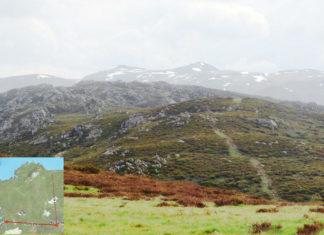 Crestón dos Pichos, con Pena Trevinca ao fondo, preto da lagoa onde se ubica o punto máis afastado da liña de costa en Galicia (ver recadro inferior á esquerda). Imaxe cedida por Antonio Fernández.
