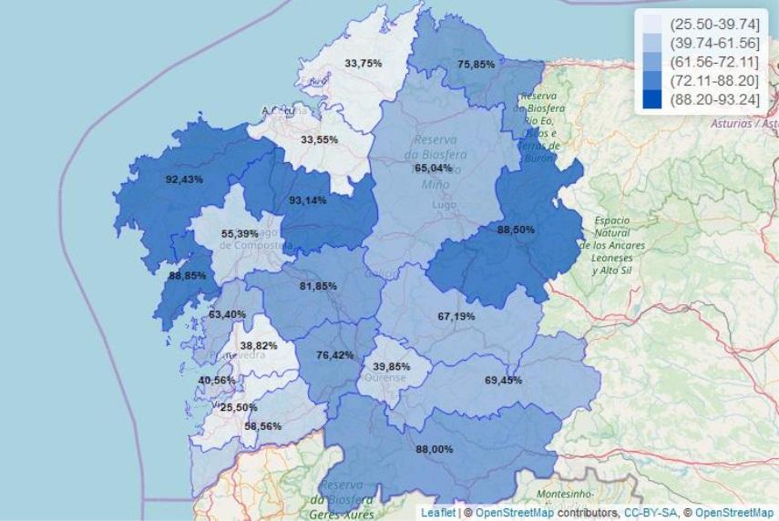 Uso maioritario do galego por zonas. Fonte: IGE.