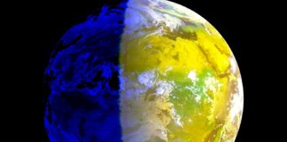 O equinoccio de outono chega, tal e como se ve na imaxe dos satélites, coa liña do día e a noite case paralela aos meridianos. Fonte: Eumetsat/MeteoGalicia.