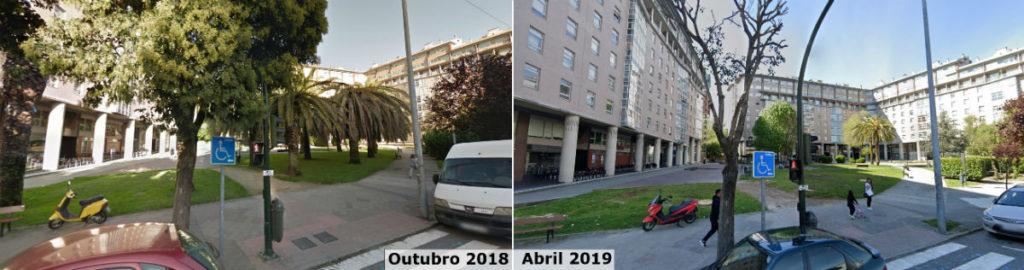 En só uns meses, as palmeiras de Gregorio Espiño, en Vigo, tiveron que ser talladas polo picudo. Fonte: Google Street View.