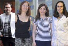 Catro dos beneficiarios do programa: José Andrés Santiago, María Aranguren, Rosana Simón e María Dolores Torres. Foto: Duvi.