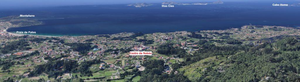 Situación do castro de Nabás, en Nigrán, na entrada da ría de Vigo. Fonte: Google Maps / Elaboración propia.