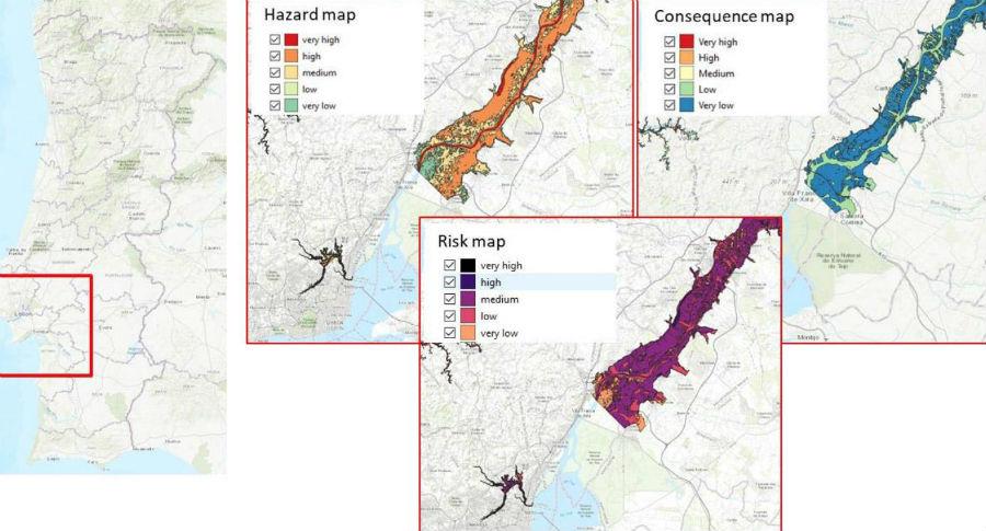 Exemplo dun dos mapas no que se recrean as posibles consecuencias de catástrofes para o caso de inundacións no piloto portugués. Fonte: Duvi/Safeway.