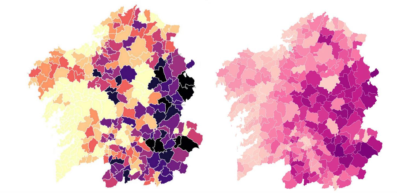 Comparativa dos cemiterios por cada 1.000 habitantes (esquerda) no mapa elaborado por D. Royé e número de habitantes por parroquia, segundo datos do IGE. No mapa da dereita, a cor máis escura indica unha menor poboación por parroquia.