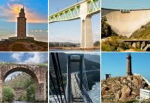 De esquerda a dereita e de arriba cara a abaixo: Torre de Hércules, viaduto do Ulla, presa das Portas, Ponte Bibei, ponte de Rande e faro Vilán.