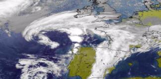 Restos do furacán Pablo ao oeste da península Ibérica. Fonte: MeteoGalicia.