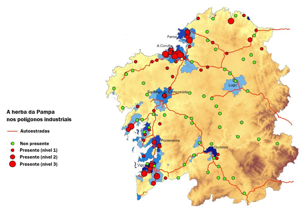 Presenza da herba da Pampa nos polígonos de Galicia. Fonte: Fagúndez et. al (2019)/Elaboración propia.